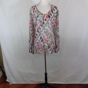 Liz Claiborne 3X Multi Color semi sheer tunic top